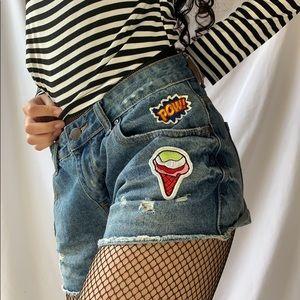 Pop art jean shorts